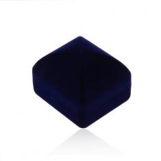 Zamatová krabička na prsteň alebo náušnice, tmavomodrý vypuklý povrch