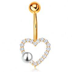 Zlatý 375 piercing do bruška - banán s guľôčkou, zirkónový obrys srdiečka, perla