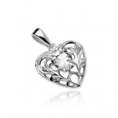 Strieborný 925 prívesok - srdce s čírym zirkónovým srdiečkom a ornamentami