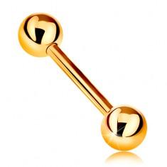 Zlatý 9K piercing - lesklý barbell s dvoma lesklými guličkami, žlté zlato, 12 mm