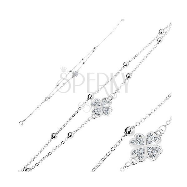 5e64f2022 Strieborný 925 náramok, číry zirkónový štvorlístok, dve retiazky s guličkami