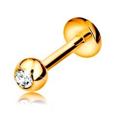 Piercing v žltom 9K zlate - do pery, brady a nad peru, gulička so zirkónom, 6 mm