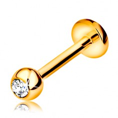 Zlatý 9K piercing do pery a brady - labret s guličkou so zirkónom a kolieskom, 8 mm