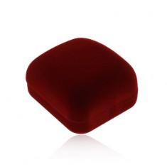Zamatová krabička na prstene alebo náušnice, bordová farba, skosená vrchná časť