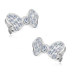 d40527c8b Šperky eshop - Strieborné náušnice 925, mašľa so žiarivými čírymi zirkónmi,  puzetové zapínanie G24