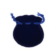 Tmavomodré zamatové vrecúško na darček, modré šnúrky na zaviazanie