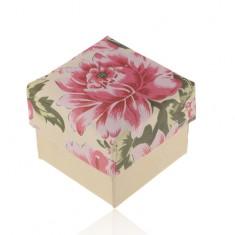 Papierová krabička na prsteň alebo náušnice, perleťovo-béžová s ružovým kvetom