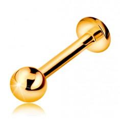 Šperky eshop - Zlatý 585 piercing do pery alebo brady - labret s guličkou a kolieskom, 10 mm GG184.17