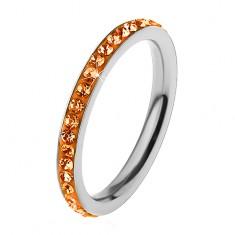 Prsteň z ocele 316L v striebornom odtieni, zirkóny oranžovej farby
