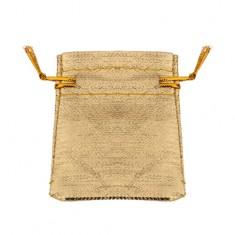 Malé látkové vrecúško na darček, trblietavý zlatý odtieň, šnúrky na zaviazanie