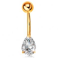 Šperky eshop - Piercing do bruška zo žltého 14K zlata - banán s guľôčkou a čírou brúsenou kvapkou GG184.01