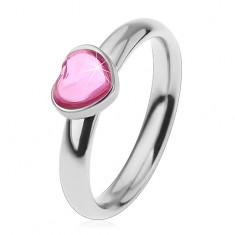 Oceľový prsteň pre deti, ligotavé zirkónové srdiečko v ružovom odtieni