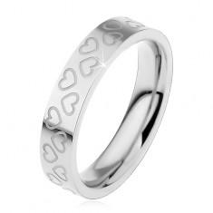 Detský prsteň z ocele 316L, strieborná farba, obrysy malých srdiečok