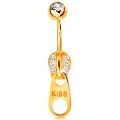 Piercing do bruška v žltom 14K zlate - zips zdobený zirkónikmi a nápisom KISS