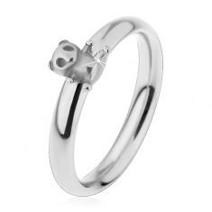 Oceľový prsteň pre deti, strieborný odtieň, malý macko, jemne vypuklé ramená