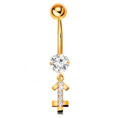 Zlatý 14K piercing do bruška - číry zirkón, ligotavý symbol zverokruhu - STRELEC