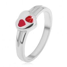 Detský prsteň z chirurgickej ocele, strieborná farba, srdce s červenou glazúrou