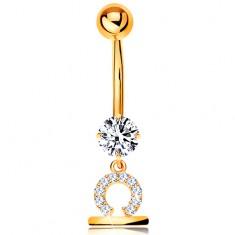 Zlatý 585 piercing do bruška - číry zirkón, lesklý symbol zverokruhu - VÁHY