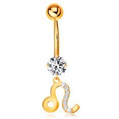 Piercing do pupka zo žltého zlata 585 - číry zirkón, symbol zverokruhu - LEV