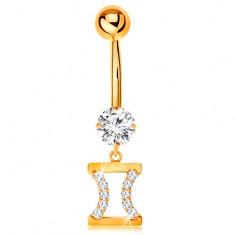 Zlatý 585 piercing do bruška - číry zirkón, znamenie zverokruhu - BLÍŽENCI