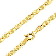 Zlatá retiazka 585 - ploché podlhovasté články, lúčovité ryhovanie, 540 mm