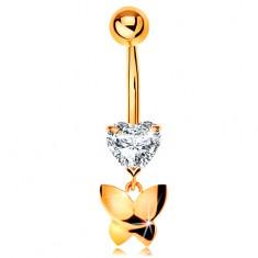 Zlatý 585 piercing do pupku - číre brúsené srdiečko, visiaci lesklý motýľ