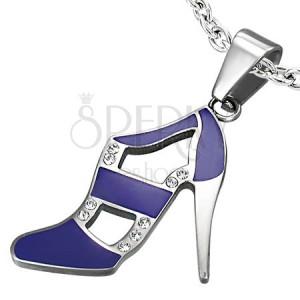 Prívesok z ocele - tanečná topánka, fialová