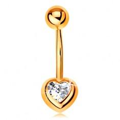 Piercing do bruška zo žltého 14K zlata - banán s guľôčkou, číre zirkónové srdce
