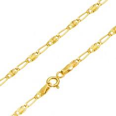 Retiazka v žltom 14K zlate - dlhé očko, článok s lúčovitým ryhovaním, 440 mm