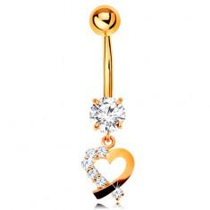 Zlatý 14K piercing do pupka - kontúra srdiečka s čírou zirkónovou polovicou