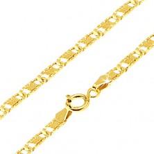 Zlatá retiazka 585 - ploché podlhovasté ryhované články, mriežka, 450 mm