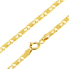 Šperky eshop - Zlatá retiazka 585 - ploché podlhovasté ryhované články, mriežka, 450 mm GG186.06
