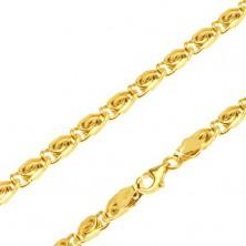 Retiazka v žltom 14K zlate - články s esíčkovým motívom, 490 mm