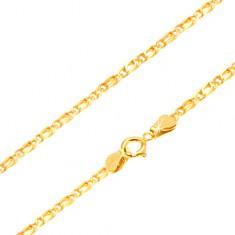 Retiazka zo žltého 14K zlata - prepojené oválne očká, zarovnané, 490 mm