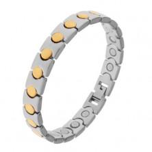 Dvojfarebný náramok z chirurgickej ocele, kruhy v zlatom odtieni, magnety