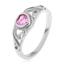 Detský prsteň z ocele 316L, ružové zirkónové srdiečko, rozdelené ramená s ornamentami