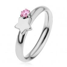 Detský prsteň z chirurgickej ocele, strieborná farba, hviezda a ružový zirkón