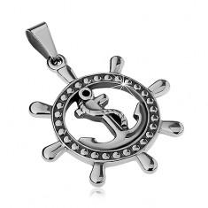 Šperky eshop - Prívesok z ocele 316L, lesklé kormidlo s kotvou a lanom v strede, strieborná farba Z23.15