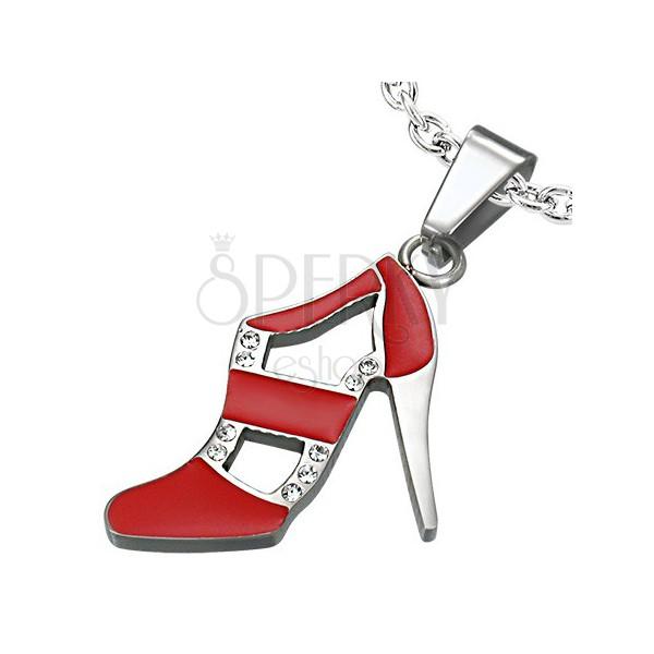 Prívesok z ocele - tanečná topánka, červená