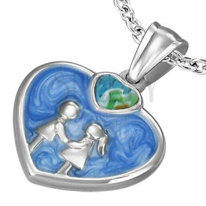 Prívesok oceľ - srdce glazúra modrá