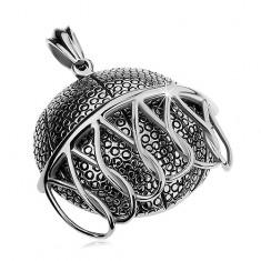 Šperky eshop - Mohutný oceľový prívesok striebornej farby, basketbalová lopta padajúca do koša AB26.03