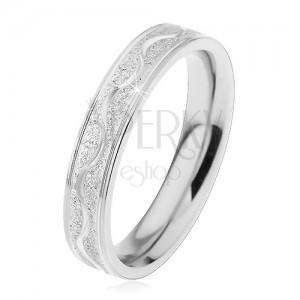 a68b641e3 Oceľový prsteň striebornej farby, pieskovaný pás s lesklou vlnkou, 4 ...