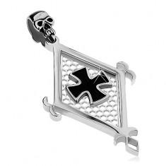 Šperky eshop - Prívesok z chirurgickej ocele, veľký kosoštvorec, čierny maltézsky kríž a lebka AB26.11