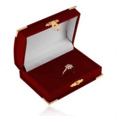 Zamatová bordová krabička na set - truhlica, detaily v zlatej farbe