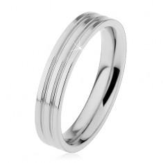 Lesklý prsteň z ocele 316L striebornej farby, dva pozdĺžne zárezy, 4 mm