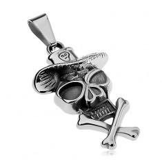 Prívesok z ocele 316L, lebka s klobúkom a prekríženými kosťami, patina
