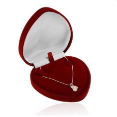 Darčeková krabička - bordové zamatové srdce na retiazku alebo náhrdelník