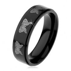 Čierny oceľový prsteň, potlač motýľov striebornej farby, 6 mm