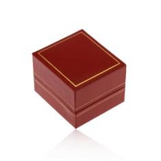Darčeková krabička na prsteň, tmavočervený koženkový povrch, lem zlatej farby