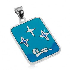 Šperky eshop - Prívesok z ocele 316L, glazúra v odtieňoch modrej farby, hviezdy a loďka AB26.16